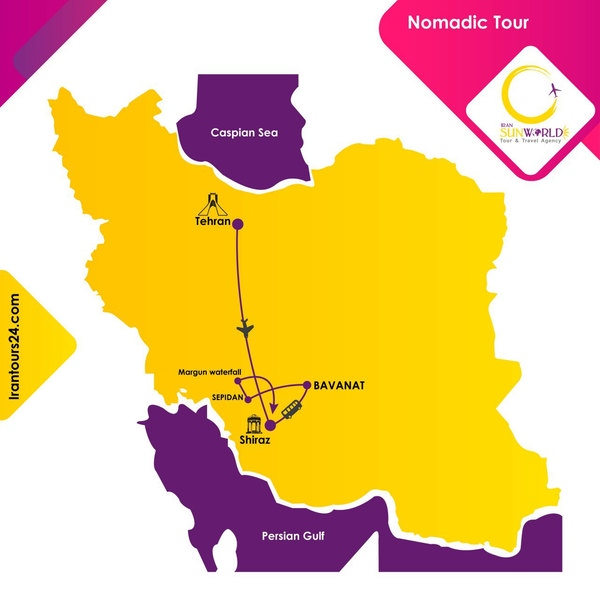 Iran map- Nomadic Tour Package